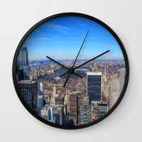 central park Wall Clocks featuring Central Park by Christine Workman