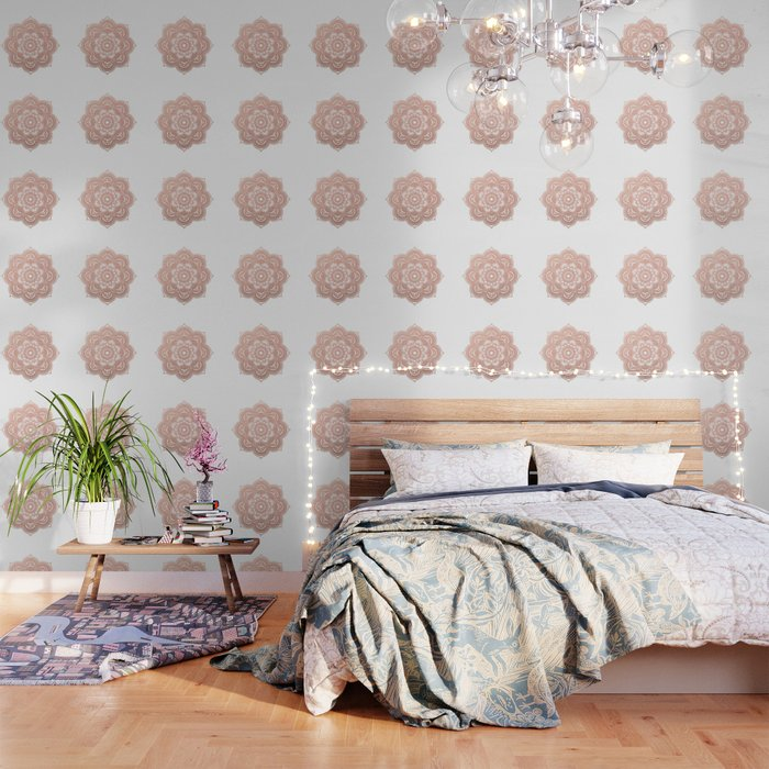 Rose Gold Mandala Wallpaper By Peggieprints Society6
