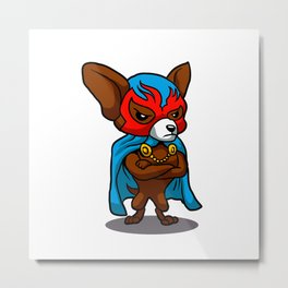 Cute dog chihuahua Fighter Lucha Libre Metal Print