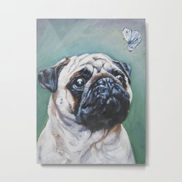 PUG dog art portrait from an original painting by L.A.Shepard Metal Print