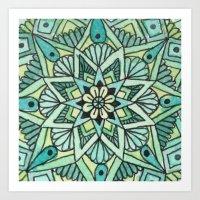 Green Mandala Pattern. Art Print