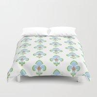 fleur de lis Duvet Covers featuring Fleur de Lis Blue by Drape Studio