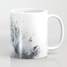 White tiger watercolor painting on white background Coffee Mug