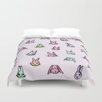 rabbits Duvet Covers featuring Rabbits by Darish