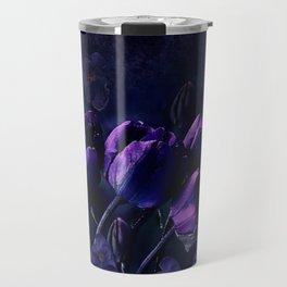 Purple Tulips in a Midnight Garden Travel Mug