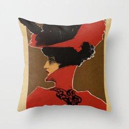 Golden Prague art nouveau Throw Pillow