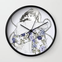 larry stylinson Wall Clocks featuring Larry by Coconut Wishes