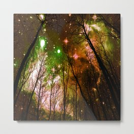 Black Trees Peach Brown Green Space Metal Print