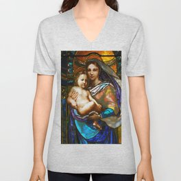 Mother Mary With Jesus Unisex V-Neck