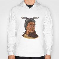 maori Hoodies featuring Maori Chief Warrior Bust Watercolor by patrimonio