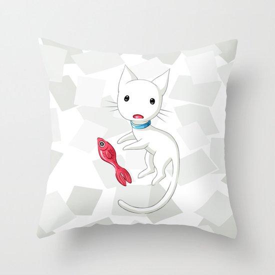 Cat and Fish Throw Pillow