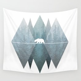 Misty Forest Mountain Bear Wall Tapestry
