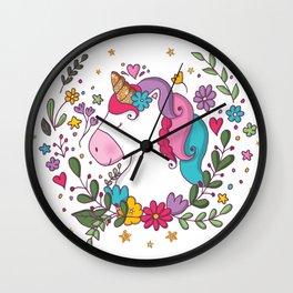 Unicorn and flowers Wall Clock