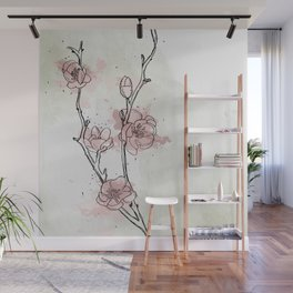 Watercolor Plum Blossom Wall Mural