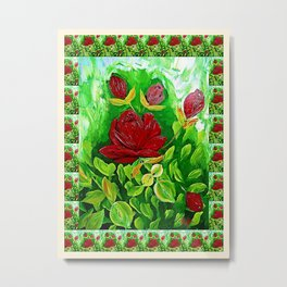 Roses are Red Oil Painting Metal Print