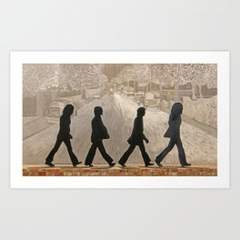 Metal Figures in Front of Mural of Abbey Rd. Art Print