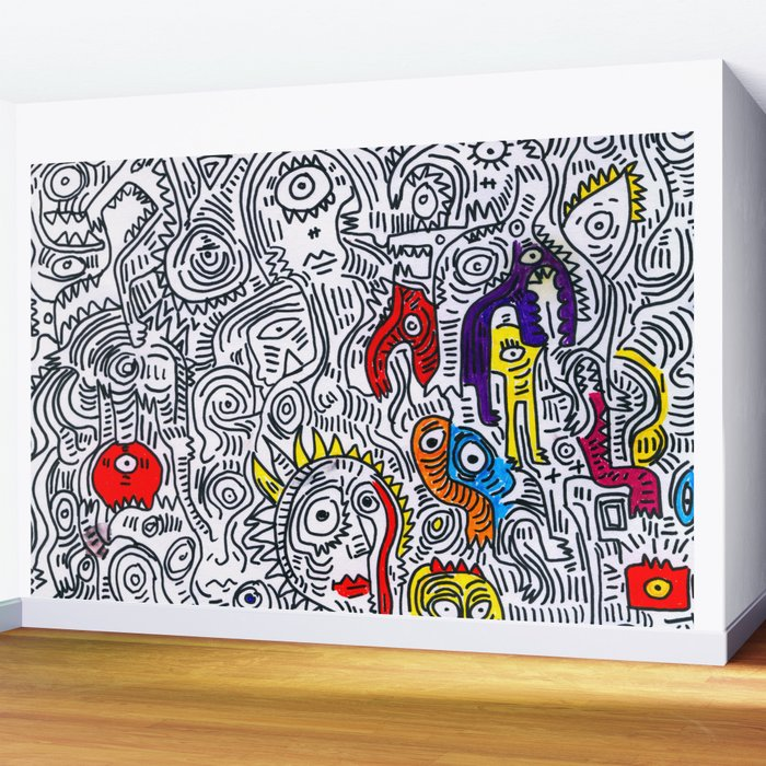 Pattern Doddle Hand Drawn Black And White Colors Street Art Wall Mural