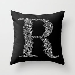 Cherry Blossom R Black Throw Pillow