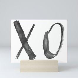 X O Quote, Black Watercolor Brushstrokes Mini Art Print