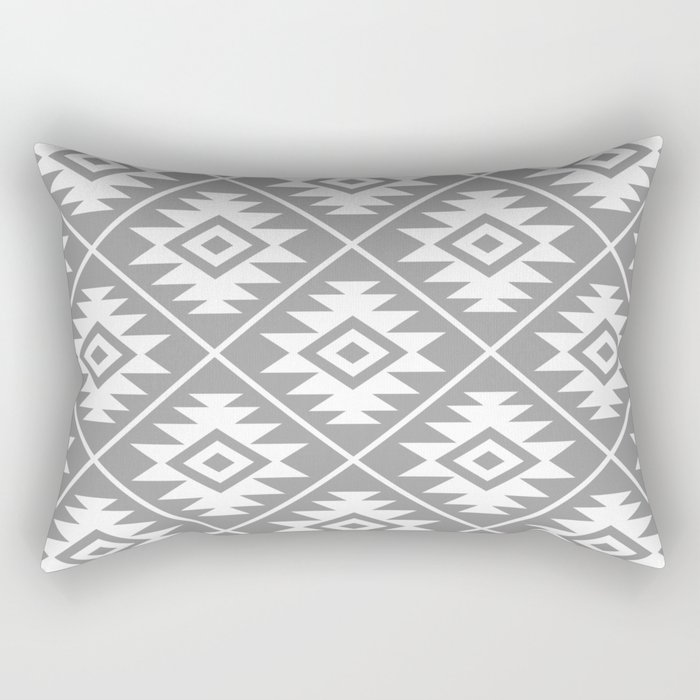 Aztec Symbol Pattern White on Gray Rectangular Pillow