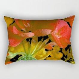 Coral Floral  & Black Pattern Rectangular Pillow