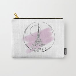Paris in a hot air balloon on purple background . pastel color Carry-All Pouch