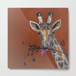 Mahagony Giraffe Metal Print