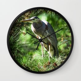 Roosting Great Blue Heron Wall Clock