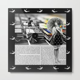 The Parasol Girl and The Parrot Metal Print