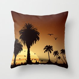 Sunsets and sunrises over the savanna with palm trees Throw Pillow