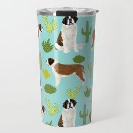 Saint Bernard dog breed pet friendly cactus southwest unique dog gifts Travel Mug