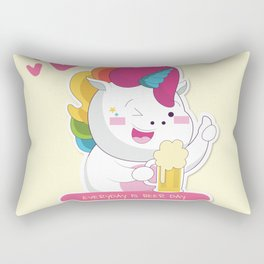 Unicorns love beer too Rectangular Pillow