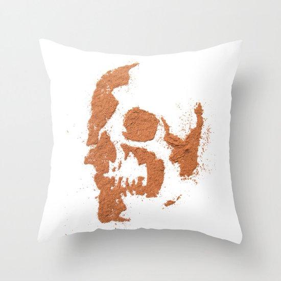 149. Cocoa Stencil Skull Throw Pillow