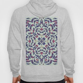 Mint Green and Navy Painterly Mandala Flower - Rainbow Trippy Line Art Hoody