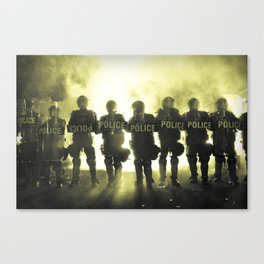 Riot Police Line - Yellow Cast Canvas Print