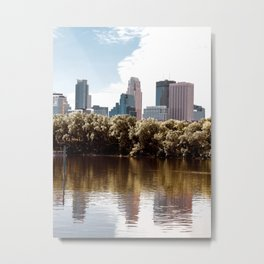 Minneapolis Minnesota Skyline Reflections Metal Print