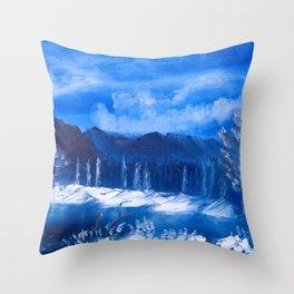 Frosty Mountain River Throw Pillow