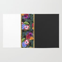 Watercolor Flowers Black White Gold Color Blocks Rug