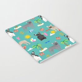 French Bulldog summer beach dog breed gifts frenchies pet portrait tropical palm trees Notebook