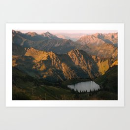 Golden Sunrise and a mountain lake in the Alps – Landscape Photography Art Print