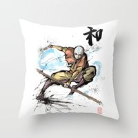 aang Throw Pillows featuring Aang from Avatar the Last Airbender sumi/watercolor by mycks