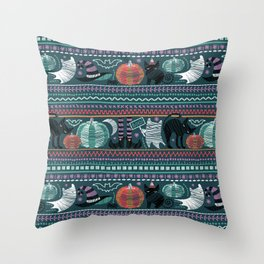Embroidery Halloween // black cats orange aqua and teal pumpkins white ghosts and stitches on green Throw Pillow