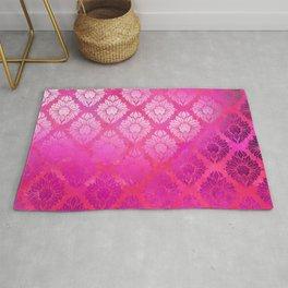 """""""Magenta Pink Damask Pattern"""" Rug"""