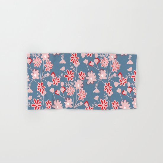 Red-Pink Flower Pattern Hand & Bath Towel
