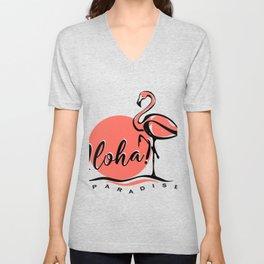 Aloha typography pink flamingo Unisex V-Neck