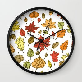 Autumn leaves, berries and nuts Wall Clock