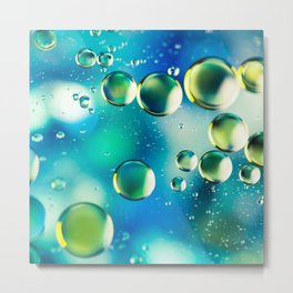 Macro Water Droplets  Aquamarine Soft Green Citron Lemon Yellow and Blue jewel tones Metal Print