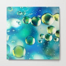 Macro Water Droplets  Aquamarine Soft Green Citron Lemon Yellow and Blue jewel tones Metal Print