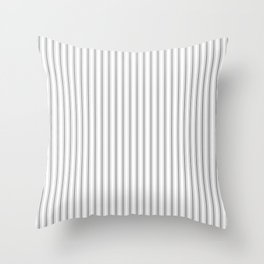 Mattress Ticking Narrow Striped Pattern in Charcoal Grey and White Throw Pillow