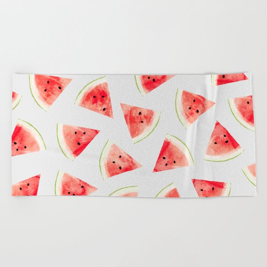 Watercolor Watermelon Pattern #society6 #buyart #decor Beach Towel